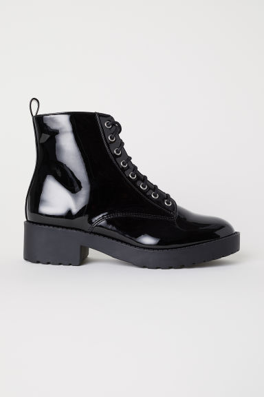 Boots with lacing - Black/Patent - Ladies | H&M CN