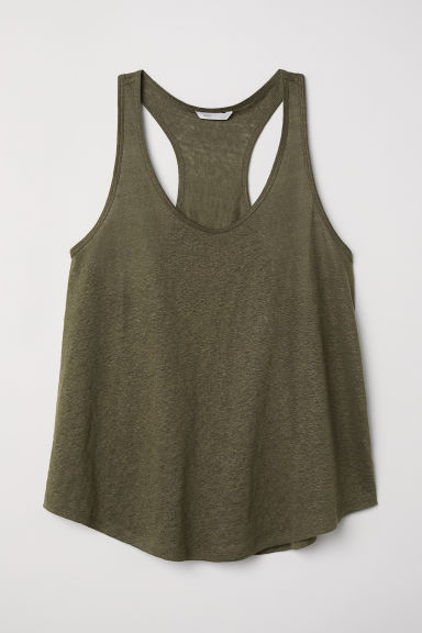 Linen jersey vest top - Dark khaki green - Ladies | H&M