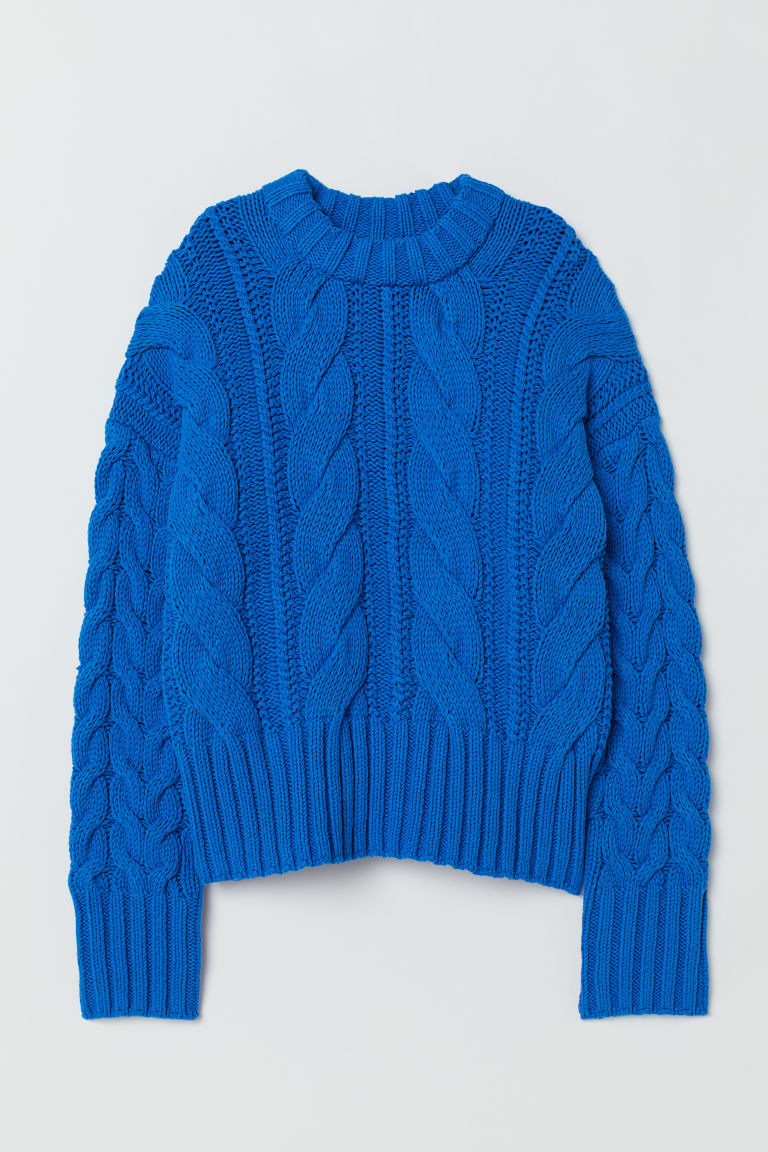 Cable-knit jumper - Cornflower blue - Ladies | H&M GB