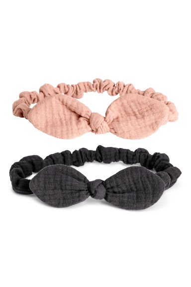 2-pack cotton hairbands - Dark grey/Powder pink -  | H&M CN