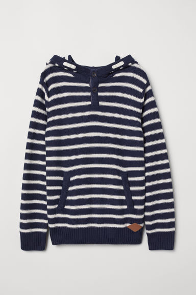 Knitted hooded jumper - Natural white/Blue striped - Kids | H&M