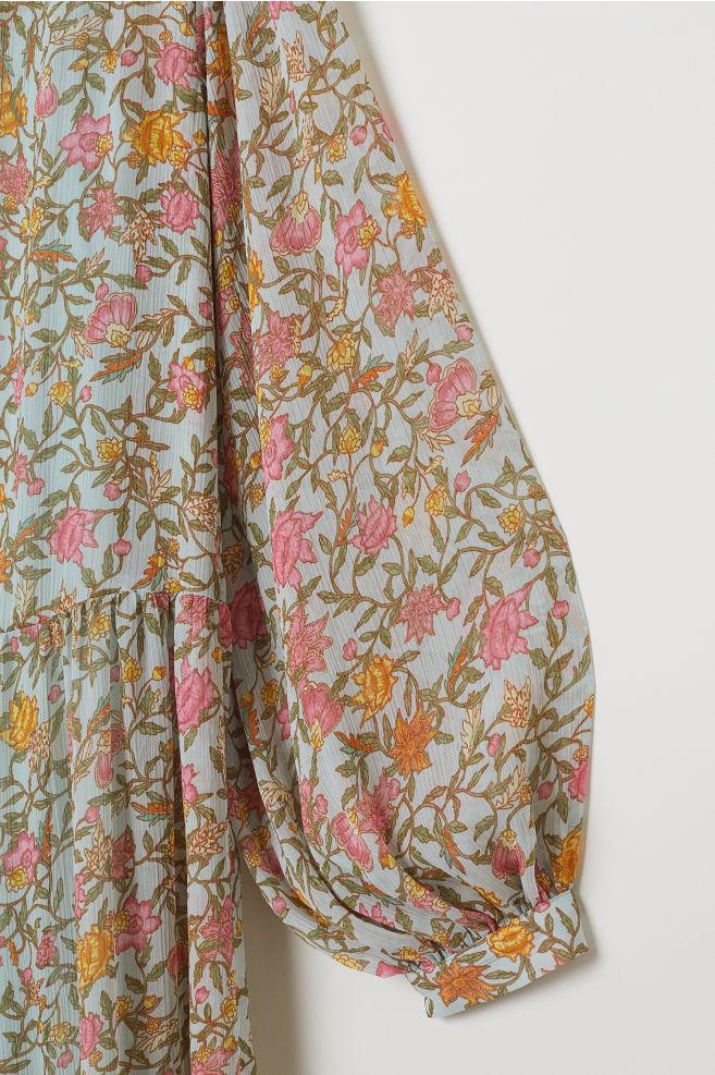 1734fe8ee2add ... Crinkled long dress - Light blue/Floral - Ladies | H&M ...