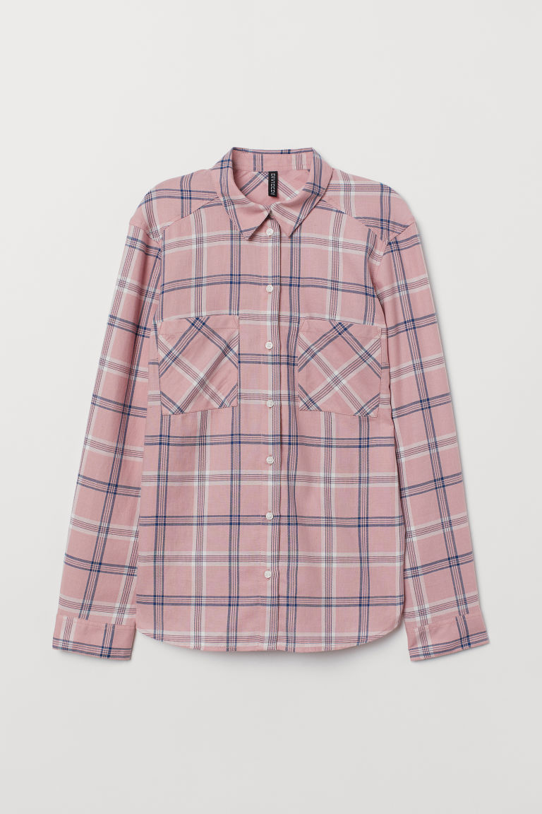 Cotton Shirt - Pink/plaid -  | H&M CA