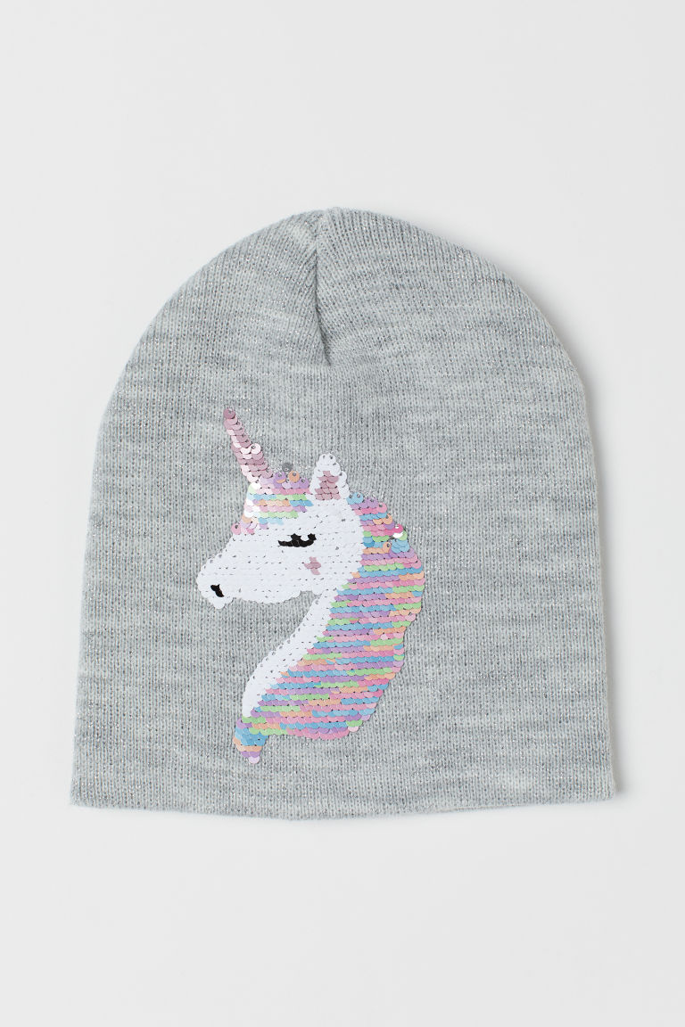 Hat with reversible sequins - Grey marl/Unicorn - Kids | H&M IE