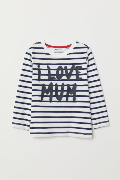 Printed top - White/Mum - Kids | H&M