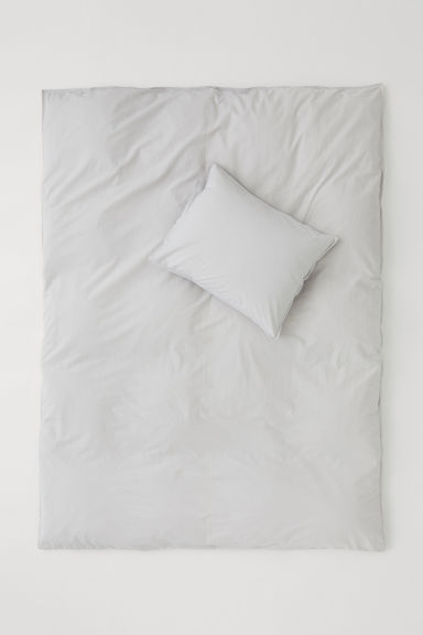 Washed cotton duvet cover set - Light grey - Home All | H&M CN