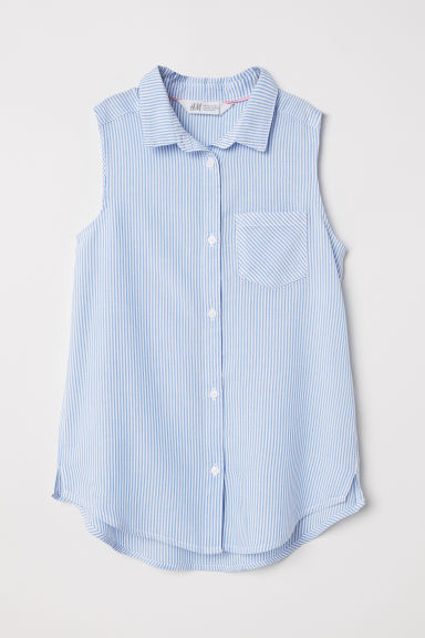 Sleeveless blouse - Light blue/White striped - Kids | H&M