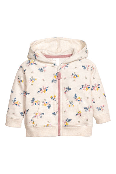 Patterned hooded jacket - Light beige/Floral - Kids | H&M CN