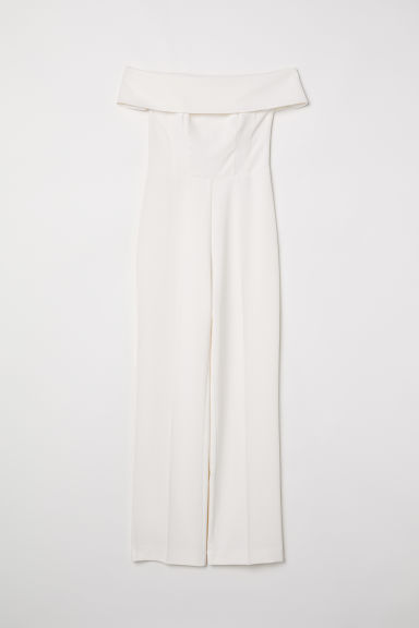 Off-the-shoulder jumpsuit - Natural white - Ladies | H&M