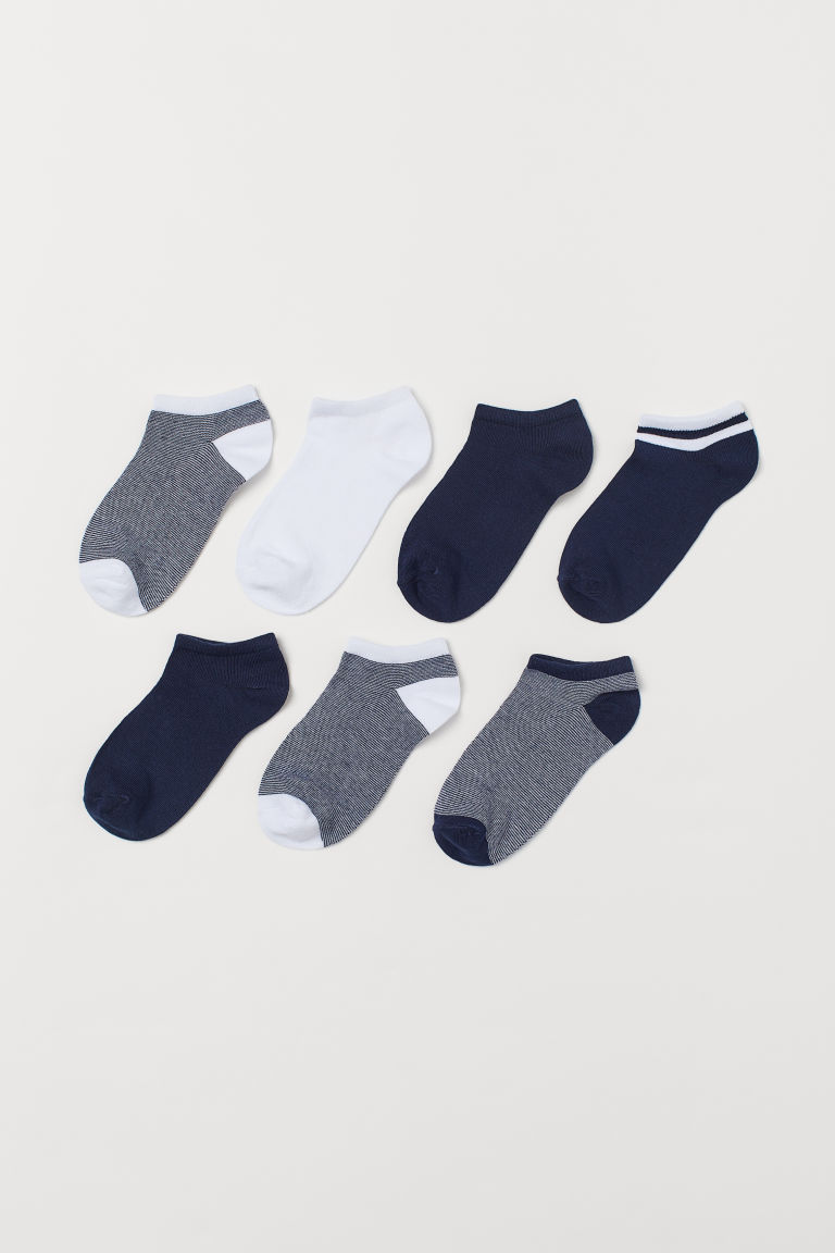 7-pack trainer socks - Dark blue/Narrow striped - Kids | H&M