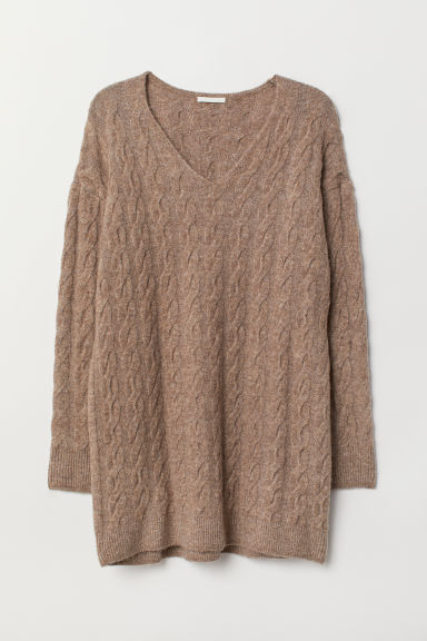 Cable-knit Sweater - Taupe - Ladies | H&M US