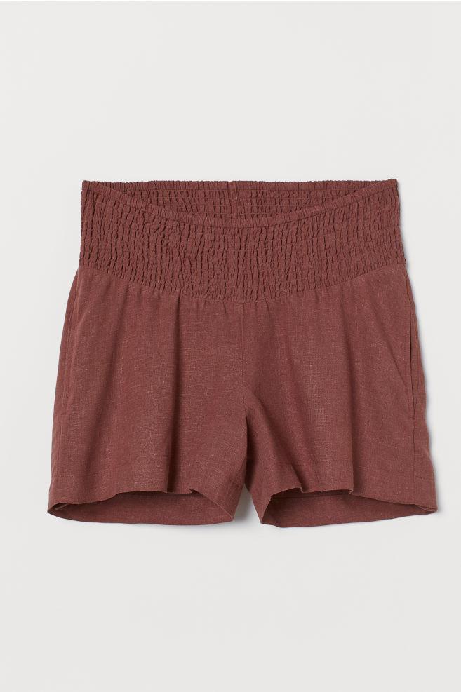 f165dec7dc2 ... MAMA Shorts with Smocking - Brown - Ladies