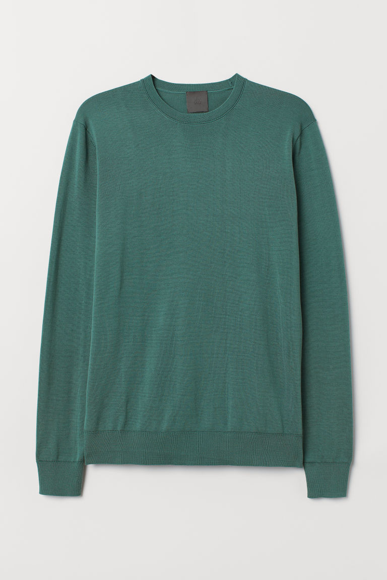 Silk-blend jumper - Dark turquoise - Men | H&M