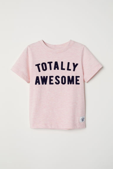 图案T恤 - 浅粉红/Totally Awesome - Kids | H&M CN