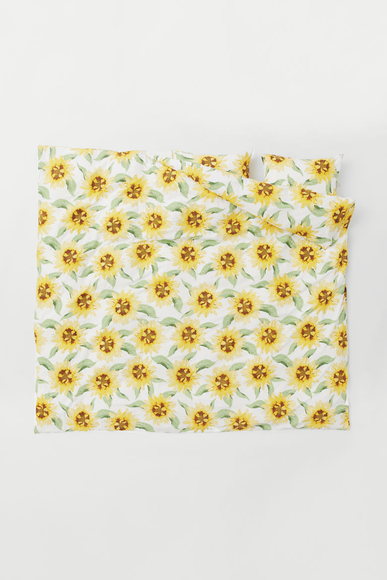 Double duvet cover set - White/Sunflowers - Home All | H&M GB
