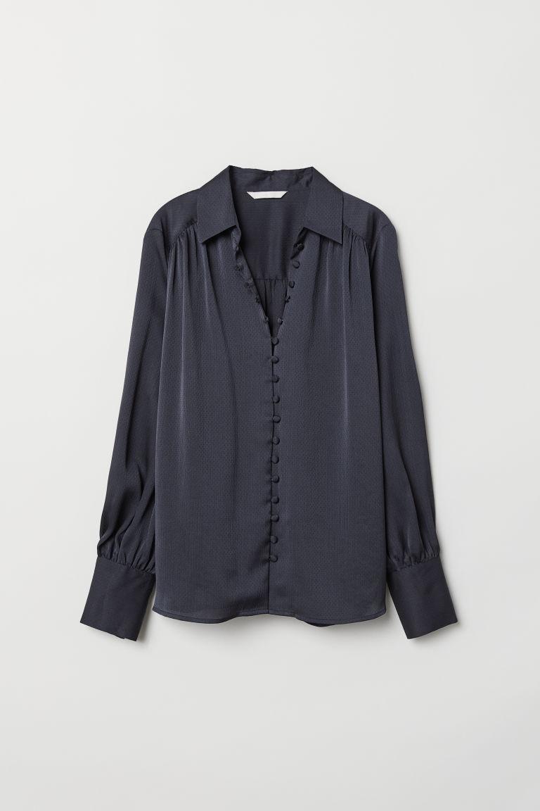 Long-sleeved Blouse - Dark blue - Ladies | H&M US 5