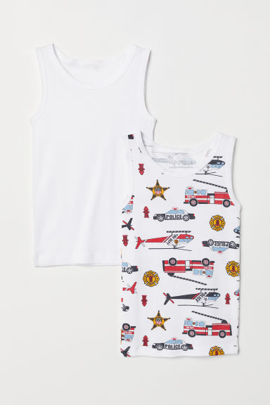2-pack vest tops - White/Fire engines - Kids | H&M