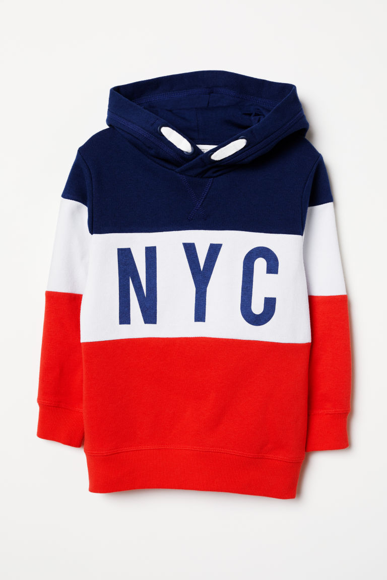 Hooded top - Bright red/NYC - Kids | H&M