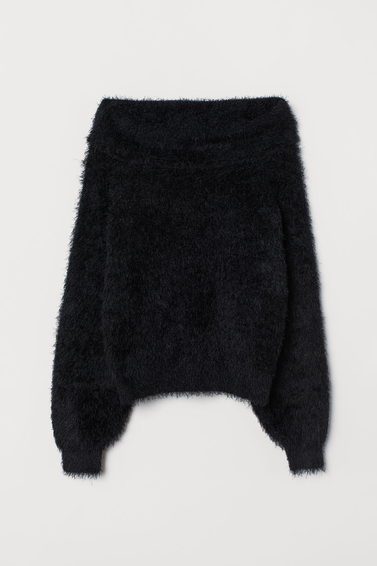 Fluffy jumper - Black -  | H&M