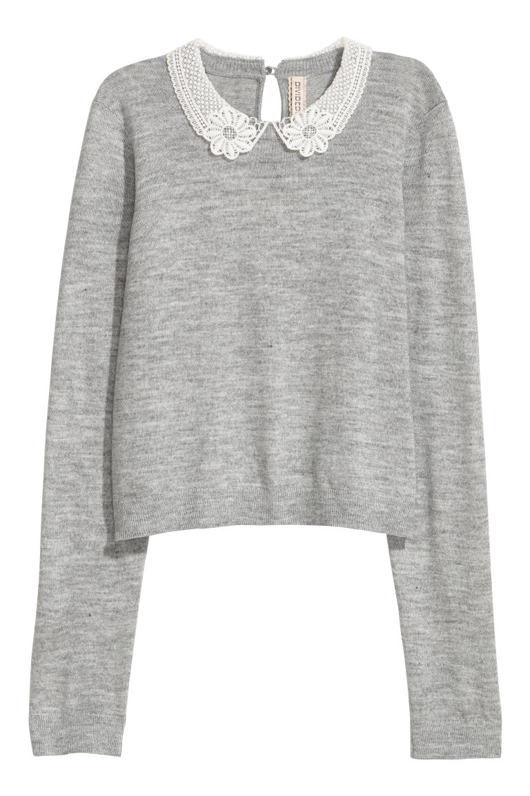 Lace-collared jumper - Grey - Ladies | H&M