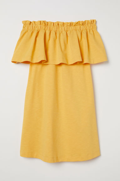 Off-the-shoulder dress - Yellow -  | H&M CN