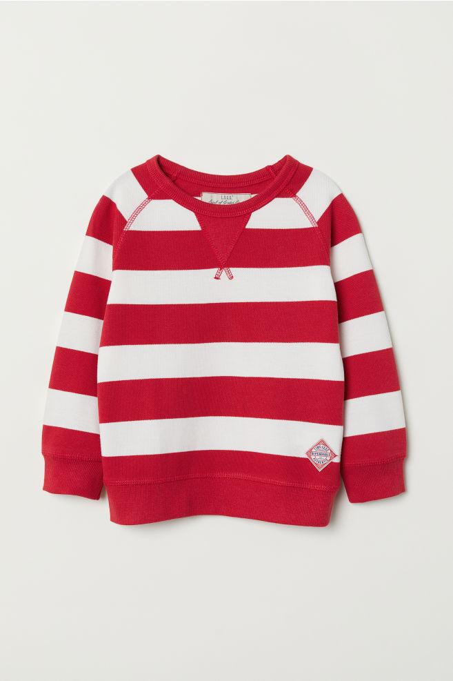 dd30af71 Genser i bomullspique - Rød/Hvit stripet - BARN | H&M ...