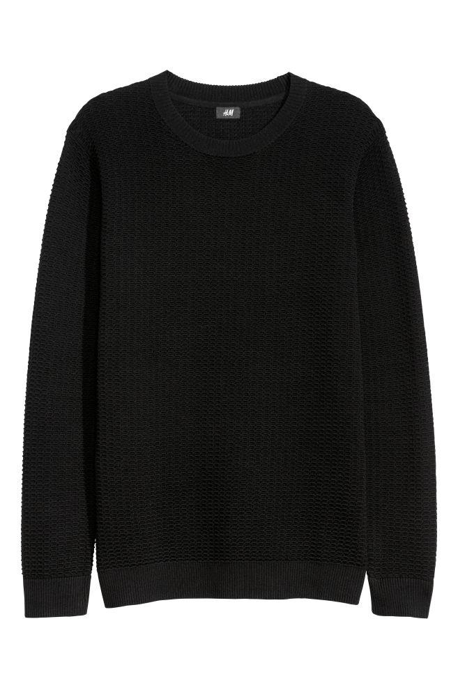 586d97a5 Textured-knit Sweater - Black - Men   H&M ...