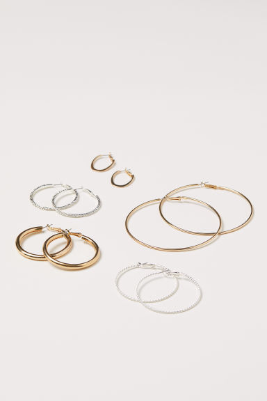 5 pairs earrings - Gold-coloured - Ladies | H&M CN