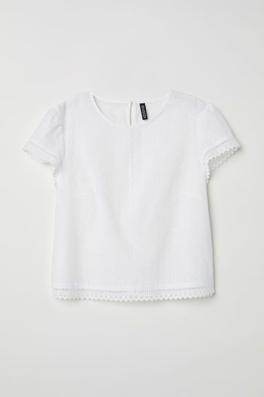 Blouse with broderie anglaise - White -  | H&M