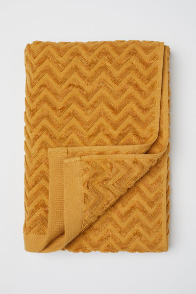 Jacquard-patterned Bath Towel - Dark mustard yellow - Home All | H&M US