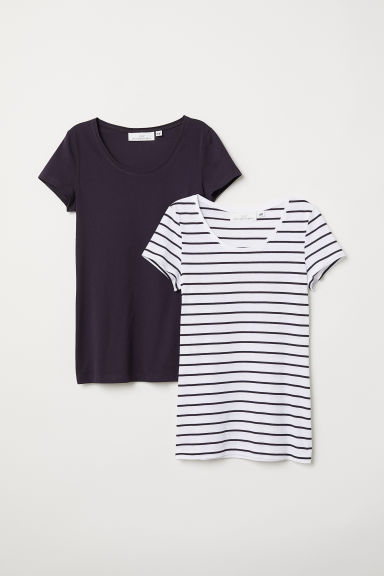 2-pack short-sleeved tops - Dark purple/Striped - Ladies | H&M CN