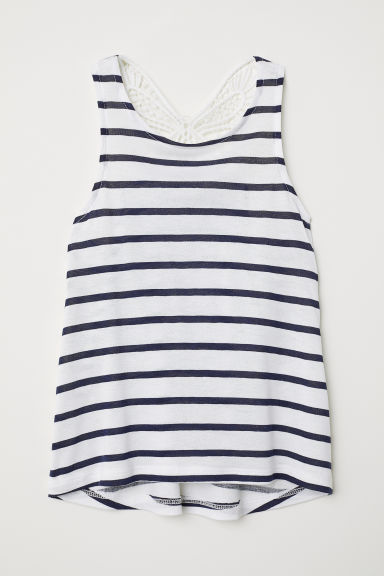 Top with a crocheted butterfly - White/Striped - Kids | H&M