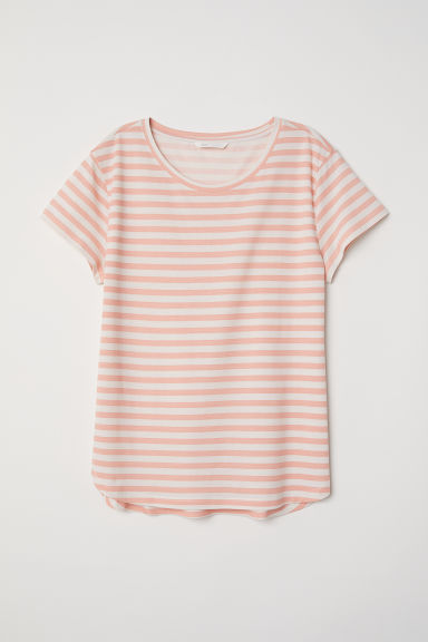 Cotton T-shirt - Peach/Striped - Ladies | H&M CN