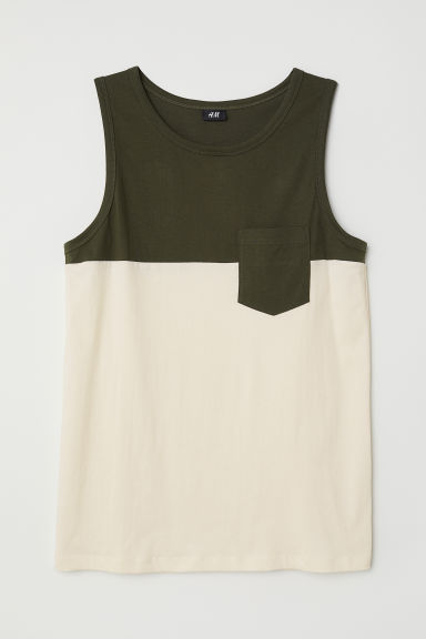 Vest top - Khaki green/Block-coloured - Men | H&M CN