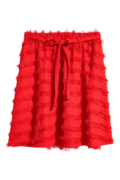 Jacquard-weave fringed skirt - Red - Ladies | H&M CN