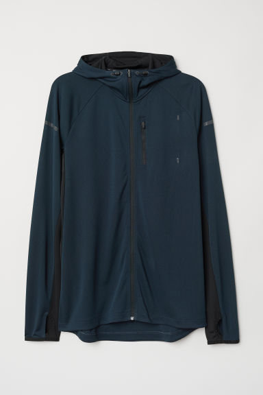 Hooded running jacket - Steel blue/Black - Men | H&M