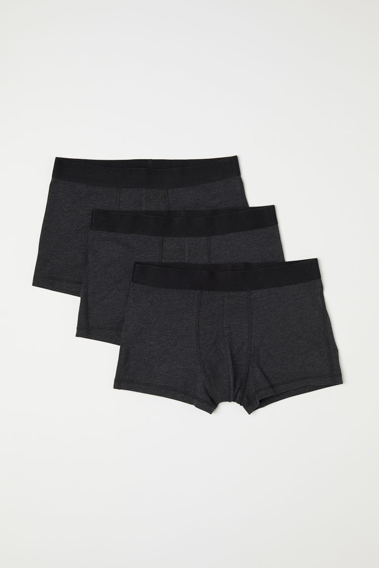 3-pack short trunks - Dark grey marl - Men | H&M CN
