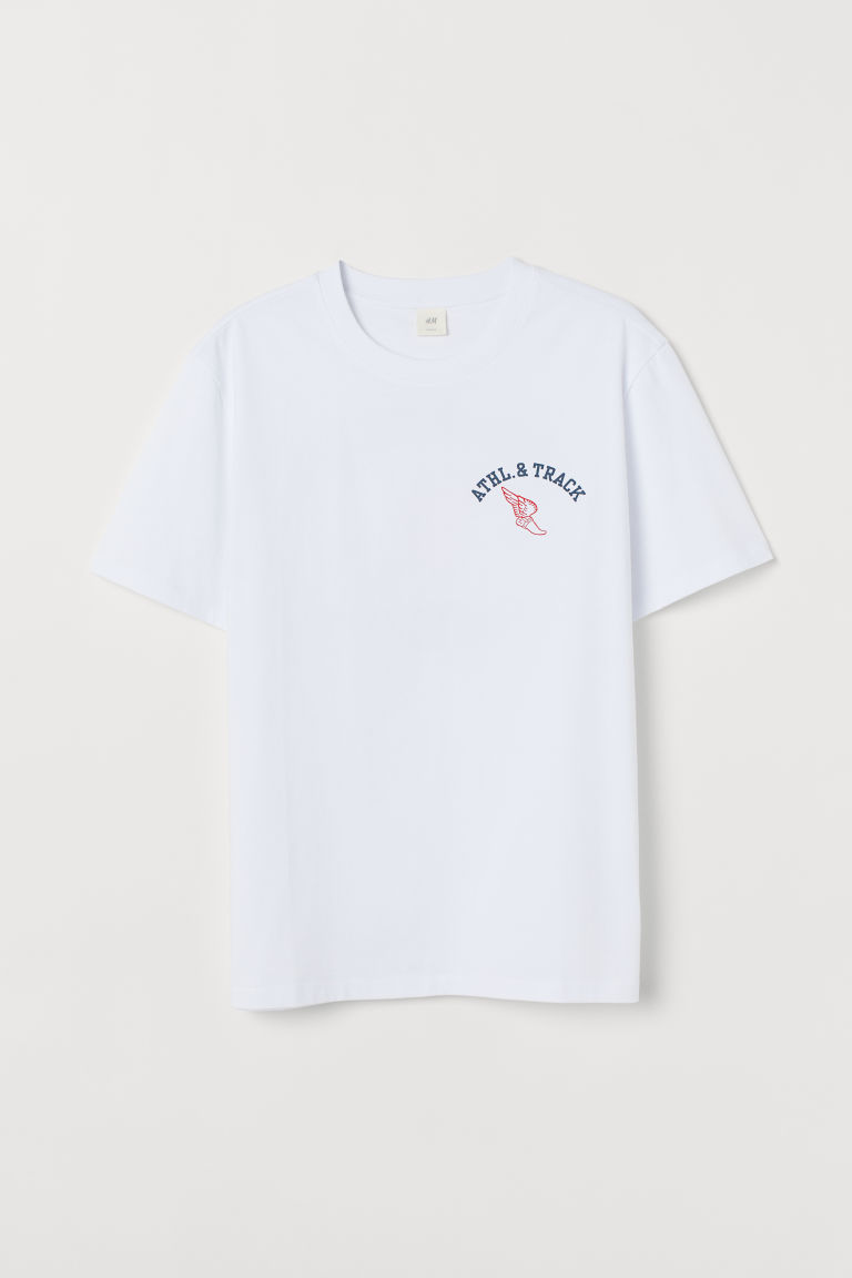 Printed T-shirt - White/Athl. & Track - Men | H&M