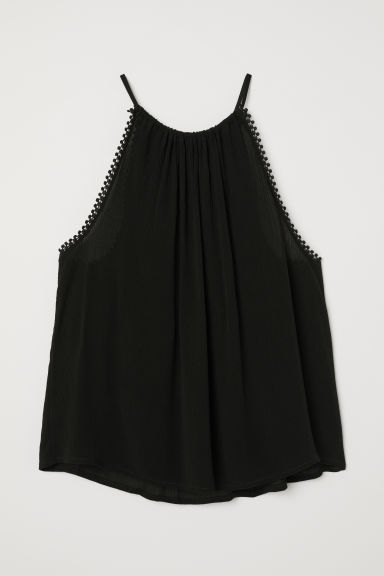 Crinkled top - Black -  | H&M