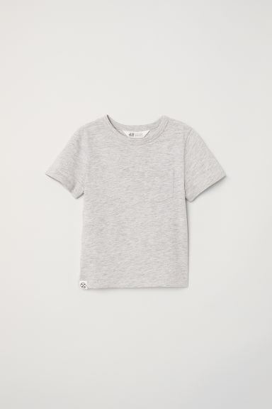 T-shirt with a chest pocket - Light grey marl -  | H&M CN