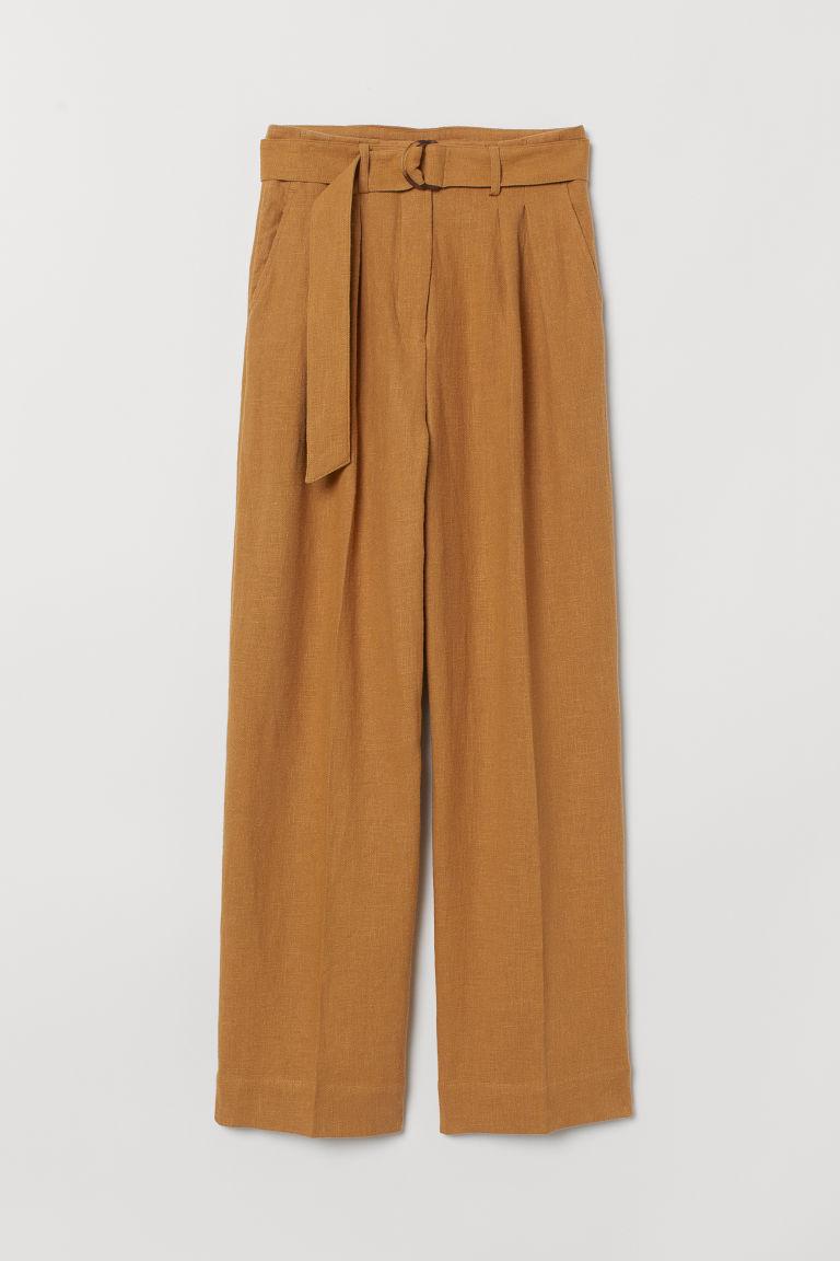 Linen Blend Paper Bag Trousers