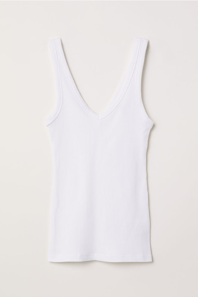 6006dde8d1e34f V-neck strappy top - White - Ladies