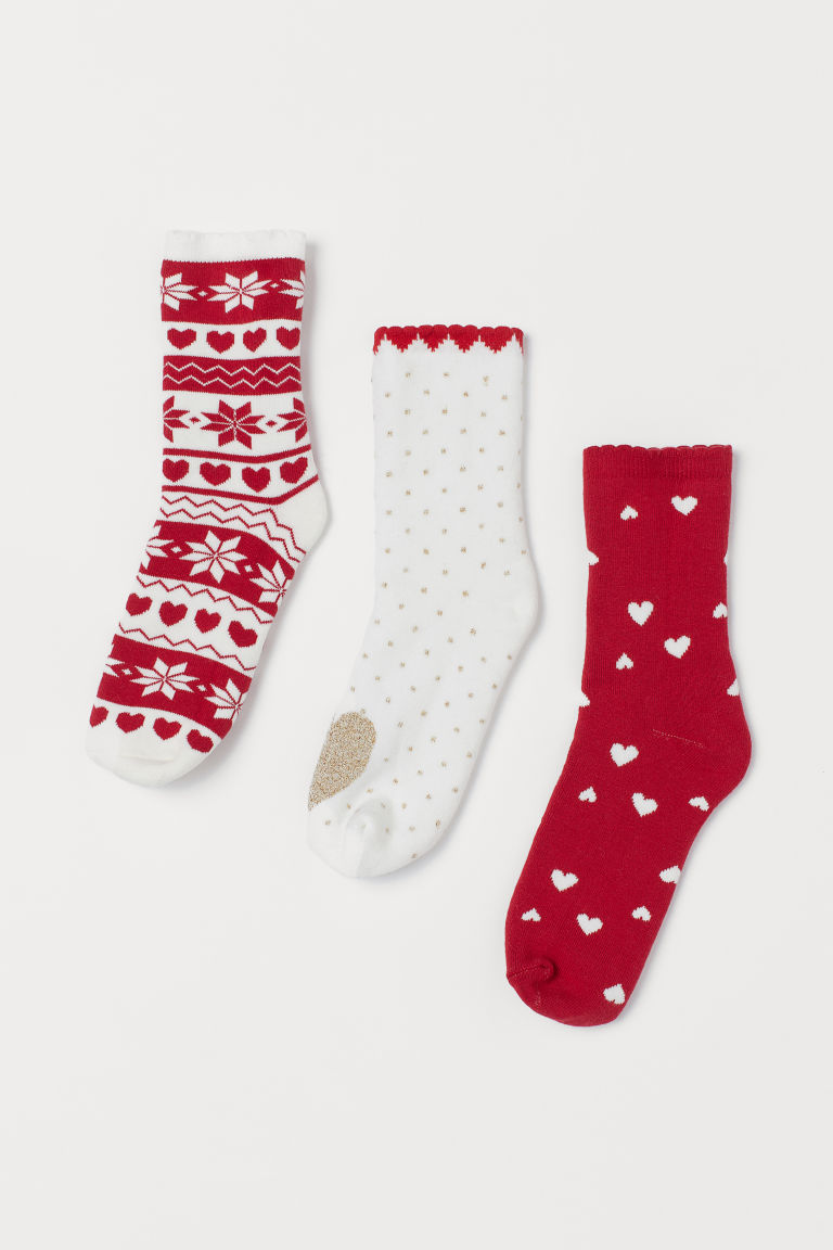 3-pack terry socks - Red/Hearts - Kids | H&M IE