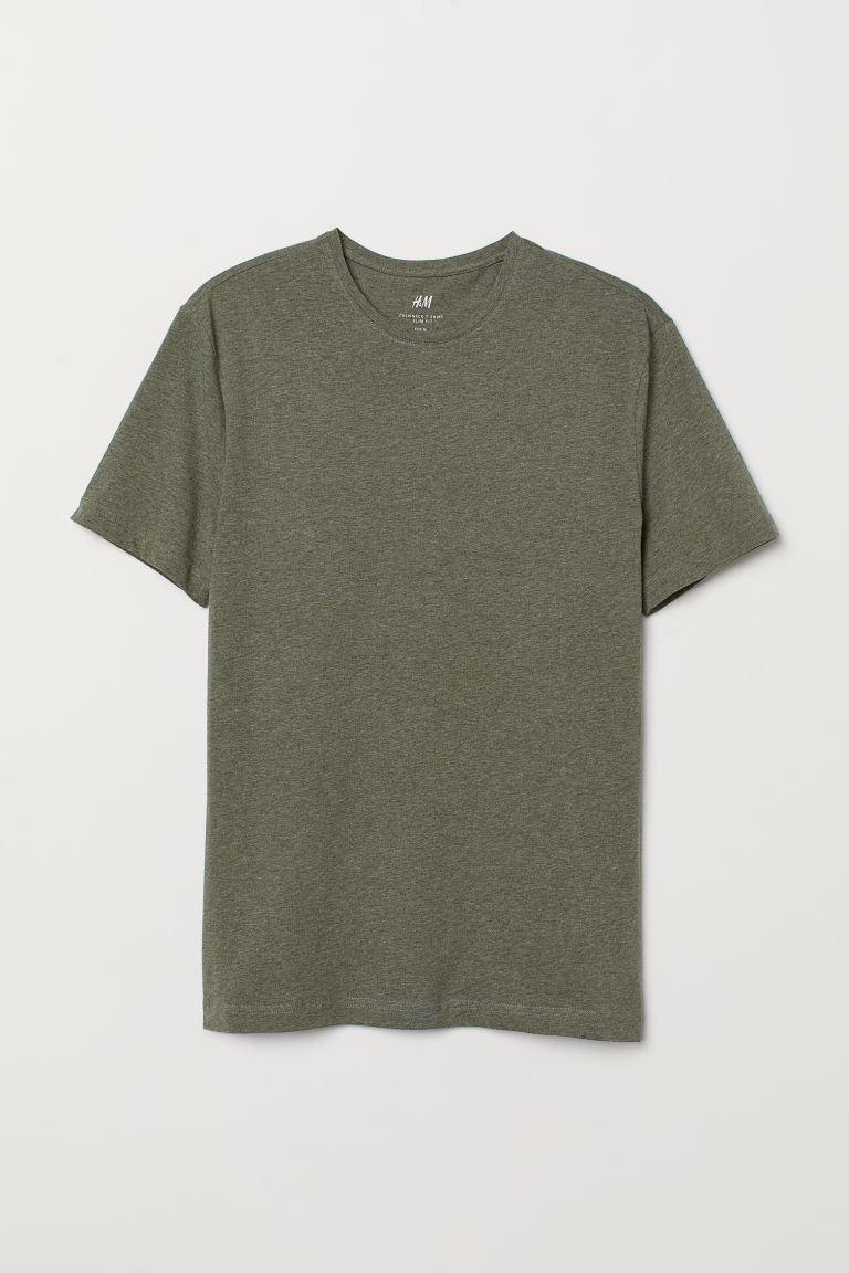 T-shirt - Slim fit - Kakigroen gemêleerd -  | H&M BE