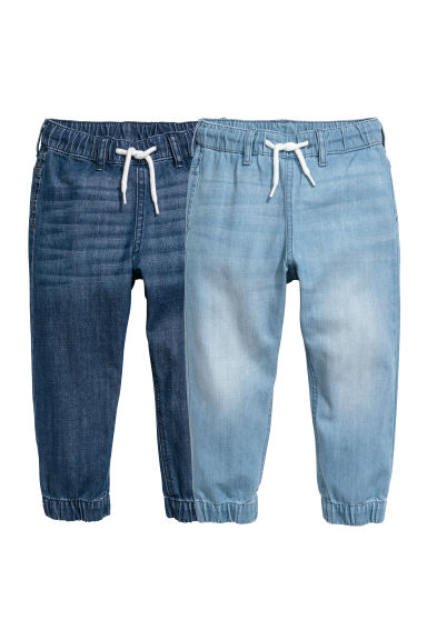 2-pack denim joggers - Denim blue/Light denim blue -  | H&M