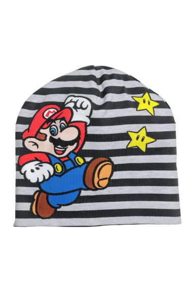 Printed jersey hat - Black striped/Super Mario - Kids | H&M