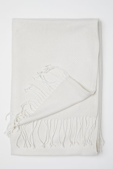 Jacquard-weave blanket - Natural white - Home All | H&M CN