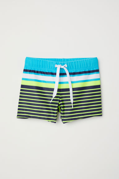 Patterned swimming trunks - Dark blue/Lime green -  | H&M