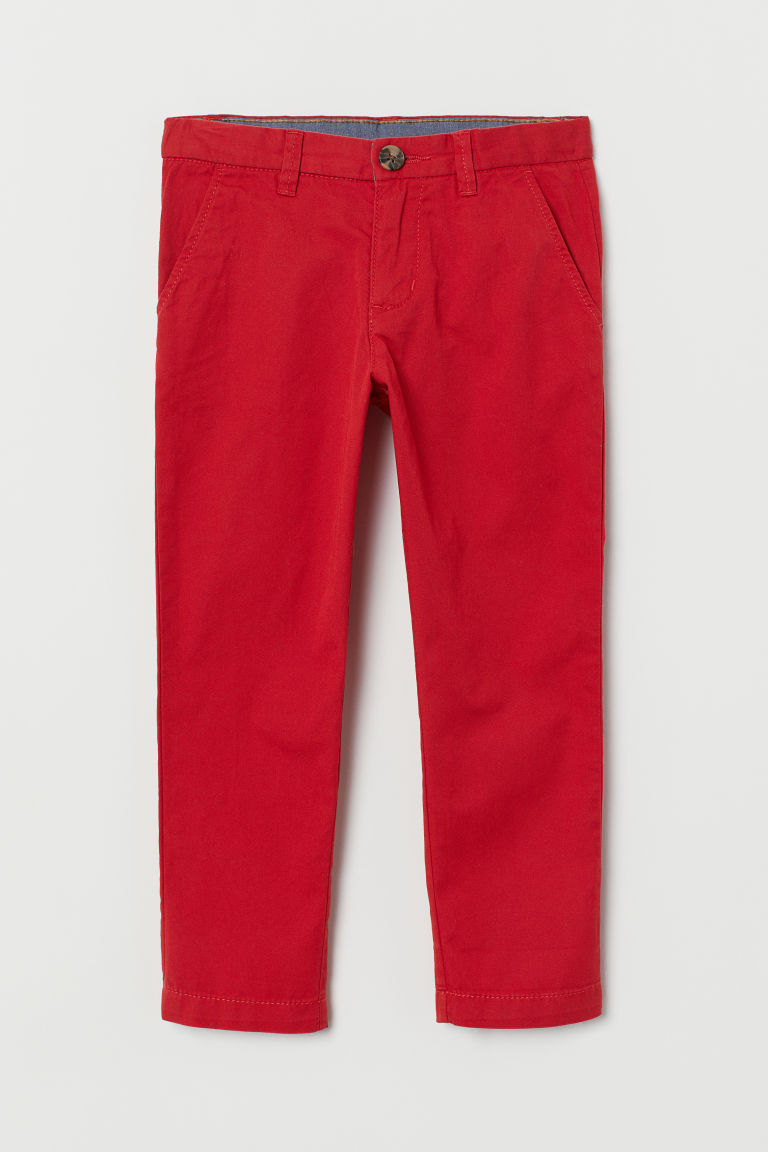 Cotton chinos - Red - Kids | H&M IN