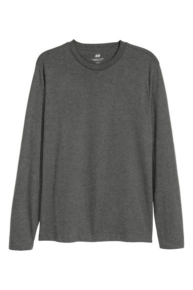 Long-sleeved top Regular fit - Dark grey marl -  | H&M
